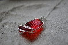 Red Seaglass Necklace - Rare - Seaglass Jewelry - Sterling Silver