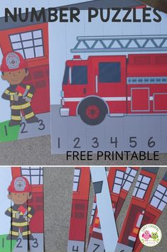 A high-interest math activity for boys!  Use these free fire truck printables to fun way to teach number recognition and number order. Both fire truck number puzzles will be great addition to your community helpers theme, fire safety theme, or firefighters theme unit and lesson plans in preschool or pre-k.  Teachers and children will love these fire trucks and firemen free printables.  Make math learning fun for kids ... perfect for learning at home. Activities For Boys, Number Activities, Literacy Activities, Counting Activities, Early Learning, Fun Learning, Fire Safety Crafts, Fire Prevention Week, Number Puzzles