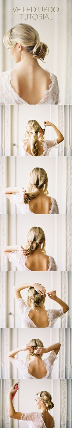 Wedding Hairstyles with Drop Veil Tutorial via once wed