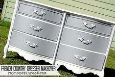 painting french provincial dresser | Isn't she a beauty? I love love love the gray and white contrast ...