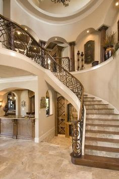 Home interior with a travertine floor and a beautiful staircase #travertine #floor #home #interior #naturalstone