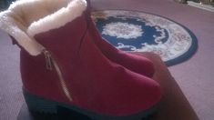 Red Faux Sued Fashion Boots Fur Lined flat with Zip NEW Size 40 Fashion Boots, Fur, Flats, Winter, Accessories, Shoes, Ebay, Women, Loafers & Slip Ons