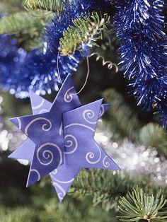 weihnachtsdeko basteln Baumschmuck Stern in Lavendel
