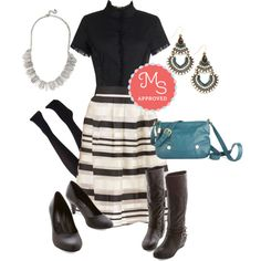 In this outfit;  Gracefully Acclimated Skirt, The Thrill of Victorian Top, Layer it on Tights, Especially Splendid Boot, Train Travel Bag, Finery and Dandy Earrings, Red Eye Carumba Heel in Black, Leading Edge Necklace #blackandwhite #daytonight #partyseparates