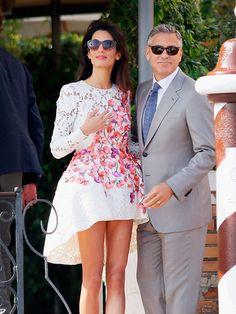 Amal wears Giambattista Valli Haute Couturefor her post-wedding brunch in Venice, Italy, September 2014.