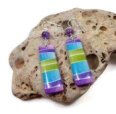 Striped Rainbow Long Earrings handmade jewelry by BeadazzleMe