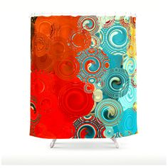 TURQUOISE and RED SWIRLS Shower Curtain, washable polyester fabric, bold artistic bathroom accessories, made to order shower curtain
