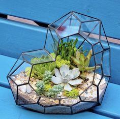 "Bílý Geometricky skleněný terárium ""Love"" / od GreenStories | Fler.cz Studios, Home And Garden, Outdoors, Decorations, Flowers, Cactus, Dekoration, Outdoor Rooms, Ornaments"