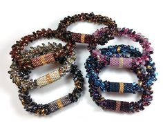 Kumihimo Bracelet with Long Magatamas, C-lon Tex 400 Bead Cord & Peyote Stitch Sleeves