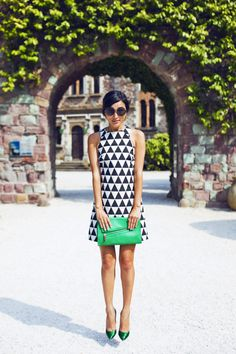 asos shift dress In triangle jacquard + green accents (sergio rossi heels, christopher kon clutch) Dress is on sale now.