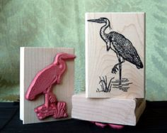 Great Blue Heron Rubber Stamp from oldislandstamps