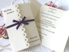 Elegant Handmade Wedding Invitations.     wonderful use of this border punch.