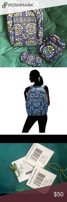 Vera Bradley Backpack, Lunchbox and Pencil Pouch Vera Bradley Laptop Backpack with Matching Lunchbox and Pencil Pouch! A cute set like brand new with the tags. Vera Bradley Bags Backpacks