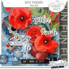 Best Friends (PU) kit by Simplette scrap design digiscrap numérique digital coquelicot sticker amitié amour manque amusement bleu rouge marron