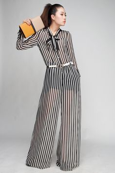 Free shipping Fashion pants suit women 2013 Jumpsuit wide leg pants women's chiffon jumpsuit female plus size overall Striped-inJumpsuits & ...