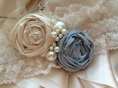 Cream and Pale blue Garter by CozetteCouture on Etsy, $25.00