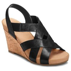 Women's A2 by Aerosoles Swim Plush Wedge Quarter Strap Sandals - Black 10.5