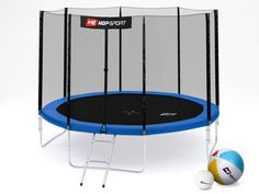 Trampolina Hop-Sport 10ft (305cm) niebieska z siatką zewnętrzną - 4 nogi Sport, Deporte, Sports