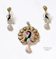 Amazing #stone #peacock #pendant #jewellery set shop at #craftshopsindia