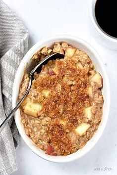 Apple Crisp Oatmeal is the perfect combination of a favorite fall dessert and breakfast! Quick and easy, my apple crisp oatmeal is a family favorite!