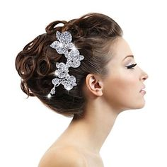 Alloy and Rhinestone Women's Wedding Bridal Flowers Hair Combs  (buy 1 get 2 free gifts) – EUR € 17.47