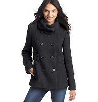 """Wool Blend Twill Pea Coat - Done in a luxe wool blend - and finished with a glam folded stand collar - this adorable pea coat is one piece your cool weather wardrobe can't live without. Double breasted button front. Long sleeves. Side pockets. Belted detail. Lined. 26"""" long."""