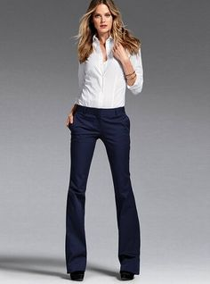 Victoria's Secret makes the best pants for women.  Even for us non-skinny chicks, pants fit like they should.  The Kate line is my fave.