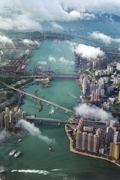 Aerial image of Infrastructure of Hong Kong including shipping ports, bridges, development n waterways_ Hong Kong