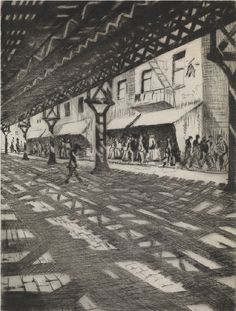Nevinson (British, Under the Elevated from the New York series, Drypoint on laid paper, plate: 200 x 151 mm. Art Alevel, English Artists, British Artists, City Illustration, Cartoon Art, Urban Art, Great Artists, Creative Art, Original Artwork