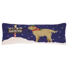Golden Retriever North Pole Pillow
