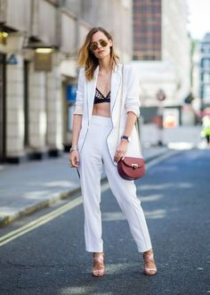 girl wearing white suit in summer