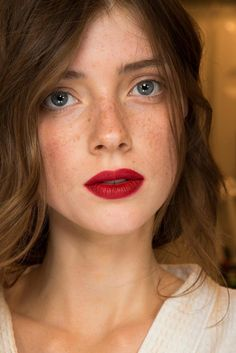 red lip with natural eye and skin