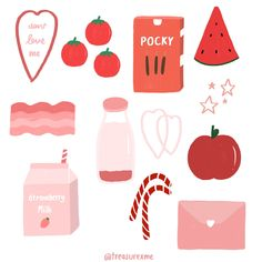 Stickers Kawaii, Pop Stickers, Anime Stickers, Printable Stickers, Journal Stickers, Planner Stickers, Simbolos Para Nicks, Korean Stickers, Cute Doodles