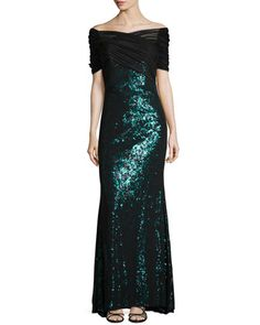 Leopard Sequined Tulle Gown  by Badgley Mischka Collection at Neiman Marcus.