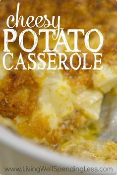 "Craving comfort food?  This super yummy cheesy potato casserole--also known as ""funeral potatoes""--whips up in minutes but tastes like you slaved all day!  The perfect dish for potlucks, holidays, or just because!"