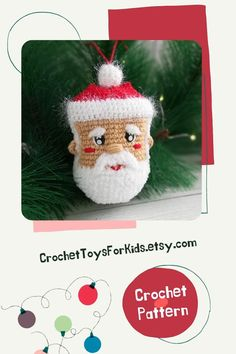 Crochet Сhristmas tree toy pattern in English - amigurumi Santa Claus, PDF tutorial