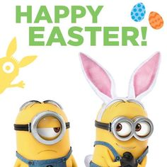 Happy Easter Minions Annoyed guy and shy girl