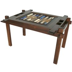 Walnut Wood Backgammon Table | From a unique collection of antique and modern game tables at https://www.1stdibs.com/furniture/tables/game-tables/