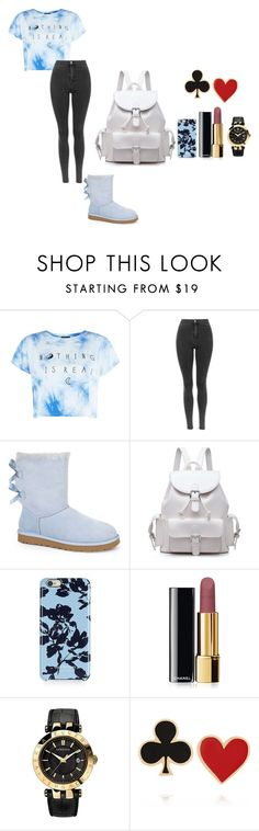 """""""cute shirt and jeans to wear"""" by west-sidee ❤ liked on Polyvore featuring UGG Australia, Isaac Mizrahi, Chanel, Versace and Alison Lou"""
