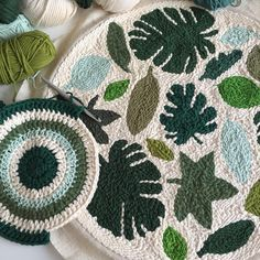 hen crochet is about to meet punchneedle 💚 Happy Sunday everyone! Crochet Leaf Patterns, Punch Needle Patterns, Cross Stitch Embroidery, Hand Embroidery, Wool Thread, Rug Hooking Patterns, Crochet Decoration, Punch Art, Yarn Crafts