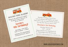 Fire Truck Birthday Party Invitation - multiple styles.  www.BabadooDesigns.com