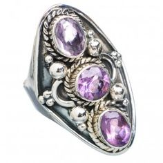 925 SOLID STERLING FINE SILVER AMETHYST RING