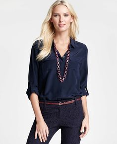 4133eef8a3e1a Ann Taylor - AT Blouses Tops - Silk Camp Shirt Workwear Fashion