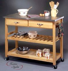 Kitchen Work Table in Natural - Stainless Steel Top $319.00
