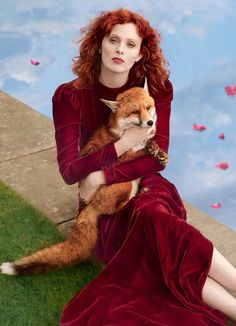 Shot by Richard Phibbs for the June issue of Harper's Bazaar UK, Karen Elson wears a crew-neck velvet gown on the waist from Gucci Pre-Fall 2017 by Alessandro Michele.Styling: Miranda Almond