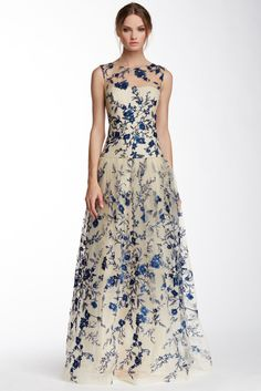 Marchesa Notte - illusion neck floral embroidered gown, via Nordstrom. *gasp*!