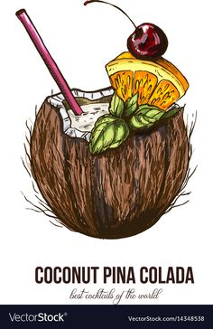 Coconut pina colada vector image on VectorStock Cake Drawing, Food Drawing, Pencil Art Drawings, Tumblr Drawings, Paris Wall Decor, Beach Clipart, Beach Illustration, Stunning Wallpapers, Sketch A Day