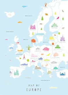 Map of Europe By holly francesca I want to go to all of these. Definitely on my bucket list. Definitely.