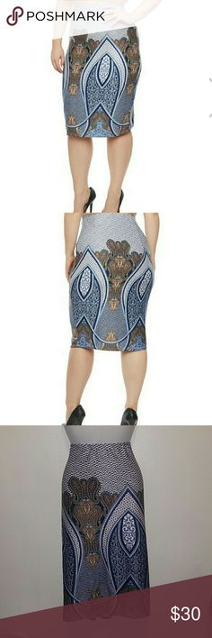 Pencil skirt NWT Plus size pencil skirt very pretty and girly with gorgeous print,midi lenght with a full lenght of 27 inches and material has 8%spandex. Made in the U.S.A. Measurements for 2x: waist 38 hips 44 Measurements for 3x: waist 41 hips 47 Skirts Midi