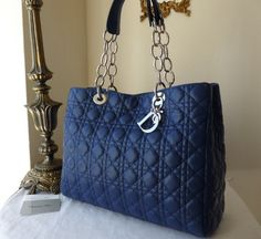 eed860f93d28 Dior Soft Large Shopping Tote in Royal Blue Lambskin - SOLD